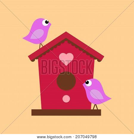 cartoon birdhouse on a beige background with two birds bird house with the heart symbol of family happiness