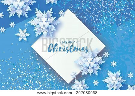 White Origami Snowfall. Merry Christmas Greetings card. White Paper cut snow flake. Happy New Year. Winter snowflakes. Rhombus frame. Space for text. Holidays. Blue background. Vector illustration.