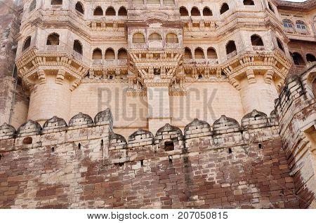 Majestic citadel of Mehrangarh on the hill near Jodphur city. Rajasthan India