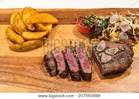 Grilled Grain fed Grilled Australian Wagyu Beef with fried potato wedge
