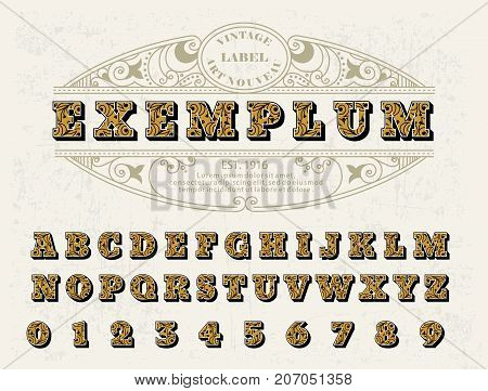 Beautiful set of capital letters, vintage Victorian style font with a floral ornament. For your logos, monograms, labels