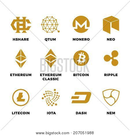 Popular cryptocurrency bitcoin blockchain vector symbols. Virtual money bitcoin and cryptocurrency, ethereum and litecoin illustration