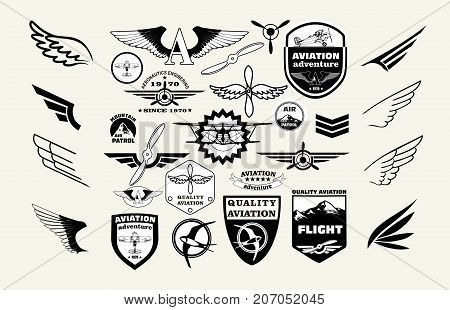 Monochrome Mega Set of retro emblems, design elements , badges and logo patches on the theme aviation.