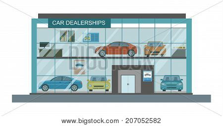 Modern car dealership showroom interior. Vector flat illustration.