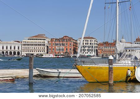 VENICE ITALY - SEPTEMBER 21 2017: View of the city coastal boulevards water transport. Venice is a unique city on the islands the Venetian Lagoon is a UNESCO World Heritage Site