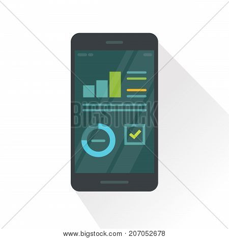 Mobile phone with statistics report graphs vector illustration, flat cartoon smartphone with analytics information data, cellphone with campaign report charts on screen isolated on white background