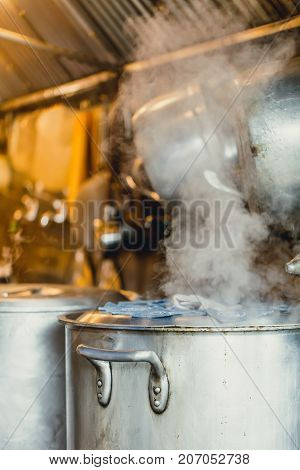 Boiling Water Simmer Soup In Large Pot Or Boiler In Japanese Restaurant Kitchen