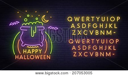 Happy Halloween neon sign, bright signboard, light banner. Halloween party logo, emblem. Neon sign creator. Neon text edit