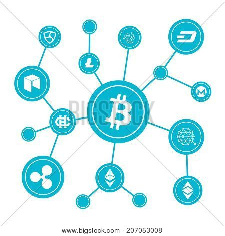 Blockchain blocks with cryptocurrency symbols. Internet money btc market vector concept. Bitcoin digital currency, money virtual cryptography illustration