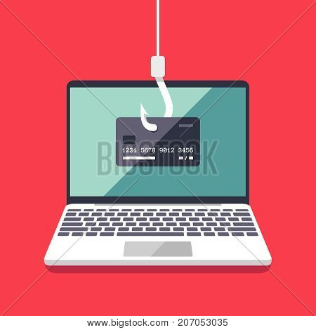 Internet phishing and hacking attack vector flat concept. Email spoofing and personal information security background. Illustration of internet attack on credit card