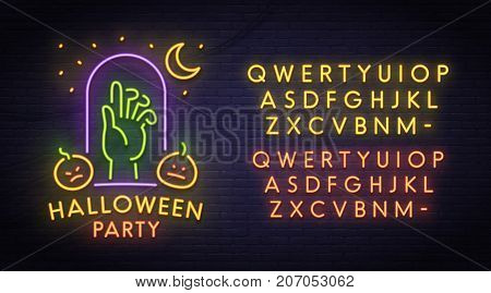 Zombie neon sign, bright signboard, light banner. Halloween party logo, emblem. Neon sign creator. Neon text edit