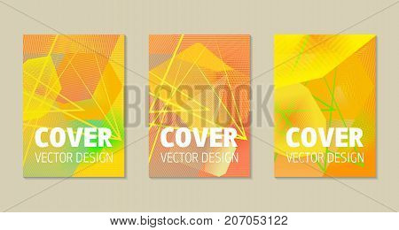Abstract flyer or book cover design set with zig-zag pattern background. Stock vector illustration. eps 10
