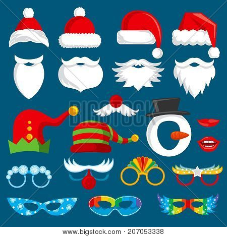 Christmas holiday photo booth props vector collection. Xmas santa party photography prop set. Xmas holiday photo booth elements costume and beard with nose illustration