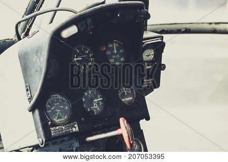 Vintage Old Helicopter Cockpit Copter Dashboard With Displays Guages