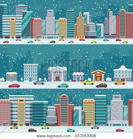 Winter city streets with cars and buildings. Christmas night cityscapes with snowfall vector set. Winter xmas cityscape street with car in road illustration