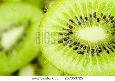Slices of kiwi fruit on kiwi background.