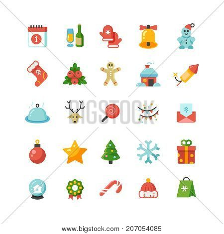 Funny christmas and new year holiday cartoon flat vector icons. Christmas elements icon collection illustration