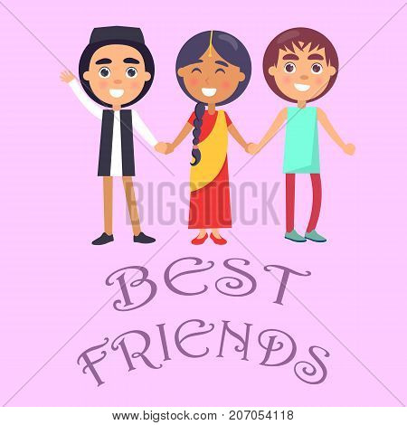 Best friends international holiday for children poster on pink background. Smiling young kids wishes happy global childrens day vector illustration