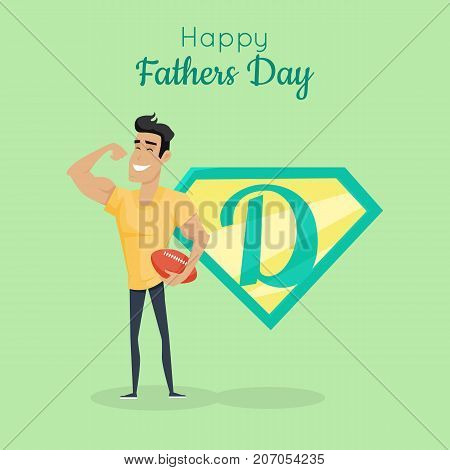 Happy Fathers day poster. Daddy great cooker. Best parent in the world. Role model, greatest mentor. Part of series of fathers day celebration banners. Honoring dads. Fatherhood concept. Vector