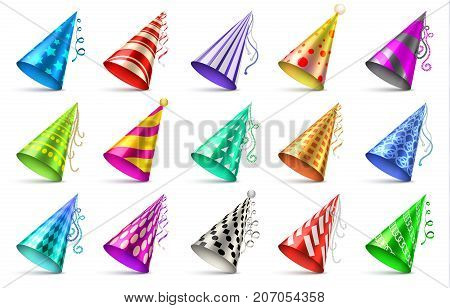 Paper birthday party hats isolated. Funny caps for celebration vector set. Cap cone for birthday party illustration