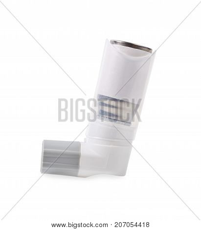 Asthma inhaler isolated on a white background. Save clipping path.
