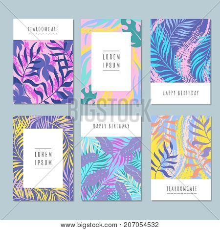 Hawaii exotic vector abstract background with floral sketch pattern of hand drawn flowers and leaves. Banner hawaii exotic palm leaf illustration