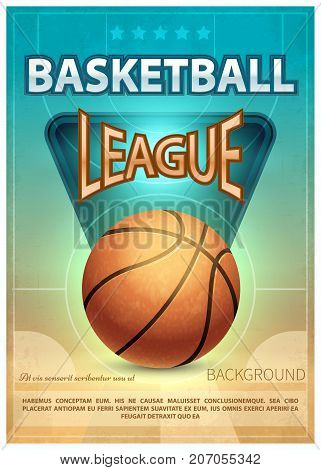 Basketball tournament sports vector poster. Basketball game poster illustration