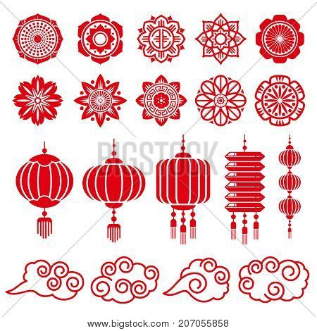 Traditional chinese and japanese decorative design vector elements. Japanese and chinese traditional decoration red lantern illustration