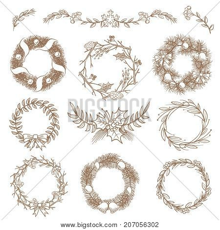 Christmas hand drawn wreaths, border frames with fir branch vector doodle design elements. Illustration of christmas frame wreath