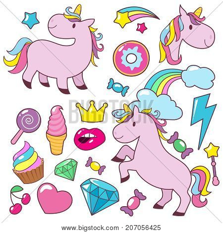 Magic cute unicorns baby horses vector character collection. Magic horse unicorn, cake and crown, diamond and ice cream illustration
