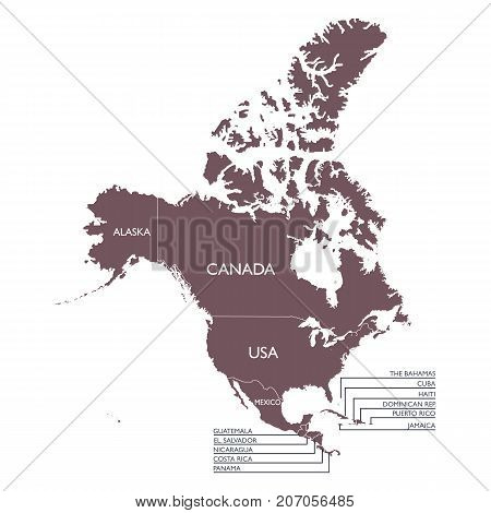 Detailed Map of North America continent with name. Vector illustration