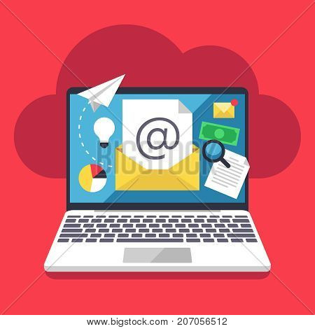 Email marketing, internet campaign strategy and online advertising vector flat concept with pc laptop and envelope. Online email marketing, internet business advertising illustration