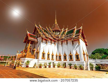 The Marble Temple of Wat Ben, one of the famous landmarks of Bangkok. Beautiful Landmark of Asia, architecture, golden decoration. Landscape of the capital city. Travel background. Place to visit