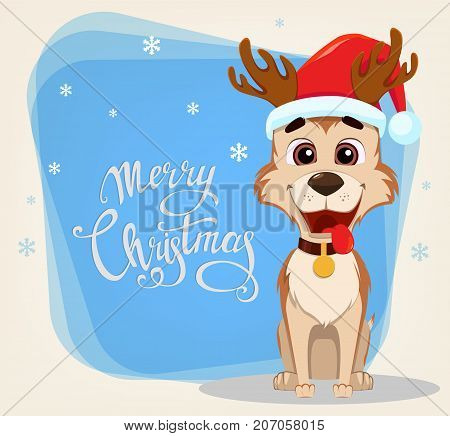 Merry Christmas greeting card. Cute dog wearing Santa Claus hat and deer antlers. Hand drawn lettering and snowflakes on the left side. Vector illustration.
