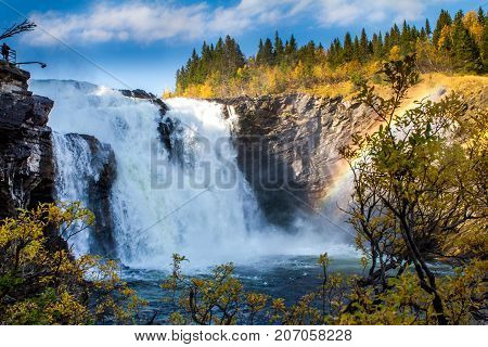 Tannforsen, the biggest waterfall in Sweden.