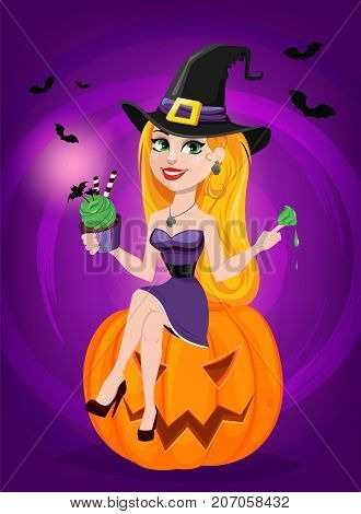 Halloween greeting card. Beautiful lady witch wearing pilgrim hat sitting on pumpkin and eating cake. Cartoon character on bright purple background with bats. Vector stock