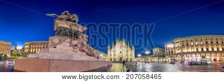 Milan Cathedral, Piazza del Duomo at night, Lombardia, Italy on July 10, 2017