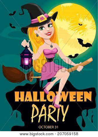 Halloween party invitation. Beautiful lady witch flying on broom and holding lamp. Cartoon character night moon and bats on background. Vector stock.