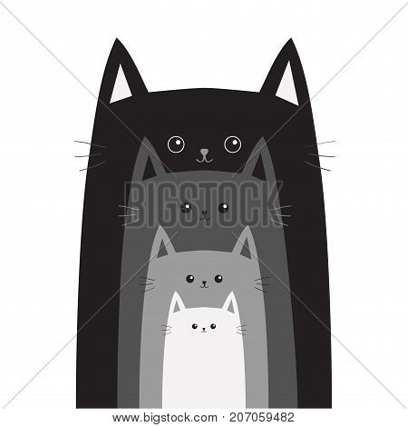 Black gray cat head. Cats in a row. Cute cartoon funny smiling character family set. Different size big small middle. Pet baby collection Card Flat design White background Isolated Vector illustration