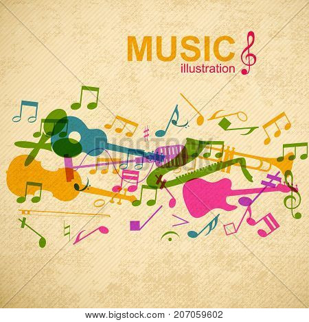 Music design concept with colorful musical instruments and notes silhouettes on striped vintage background vector illustration