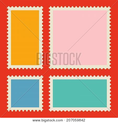 Blank postage stamp vector set. Flat illustration.