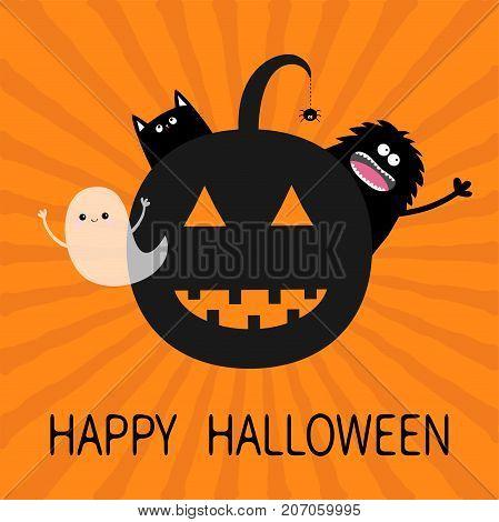 Happy Halloween. Smiling pumpkin face silhouette. Black cat monster waving hand flying ghost spirit. Spider insect dash line. Greeting card. Flat design. Orange starburst background Vector
