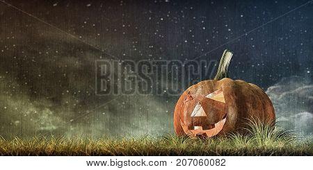 3d illustration of jack o lantern on green field