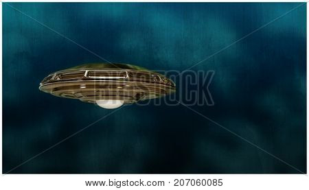 3d illustration of an unidentified flying object