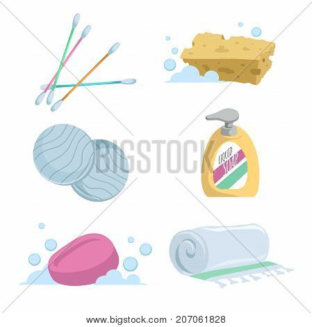 Cartoon trendy simple gradient bath icon set. Cotton sticks soap towel liquid wash cotton pads and sponge.