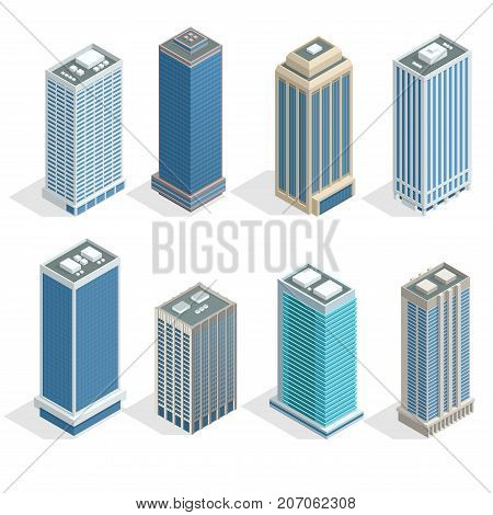 Buildings and modern city houses on 30-40 floors flat isoleted vector icons. Isometric projection of a three-dimensional houses, buildings for web projects, business presentations, infographics, game.