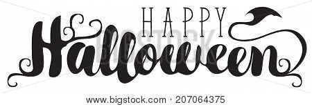 Happy Halloween lettering with curlicues. Vector calligraphic inscription for banner poster greeting card party invitation.