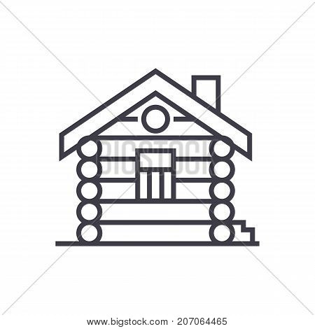 house, cabin, wood house vector line icon, sign, illustration on white background, editable strokes