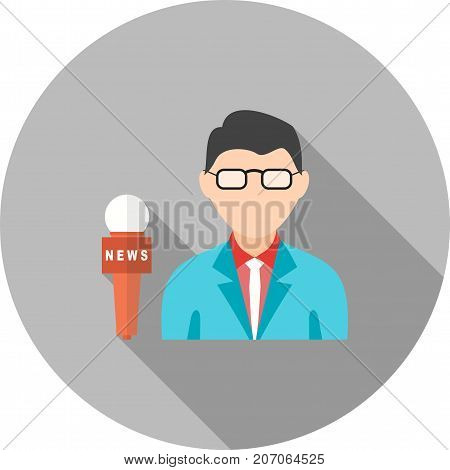 News, male, anchor icon vector image. Can also be used for news and media. Suitable for mobile apps, web apps and print media.