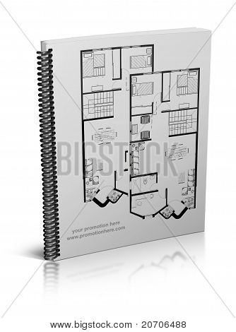 book, note pad, notebook, with drawings of a house